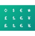 Exchange Rate icons on green background vector image