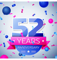 Fifty two years anniversary celebration on grey vector image vector image