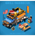 Food Truck 01 Vehicle Isometric vector image vector image