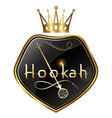 golden hookah and crown on shield design vector image vector image
