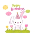 Happy Birthday card with a bunny vector image vector image