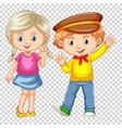 happy boy and girl waving vector image vector image