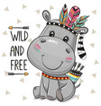 hippo with feathers on a white background vector image vector image