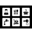 hotel icons on black background vector image vector image