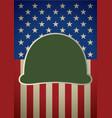 icon military helmet on usa flag vector image vector image