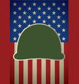icon of military helmet on usa flag vector image vector image