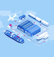 isometric global logistics network air cargo vector image vector image