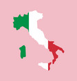 italy flag placed over an outline map italy vector image vector image