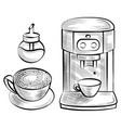 java and sugar-bowl coffee machine mug vector image vector image
