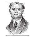mans face with beard and tie vintage engraving vector image vector image