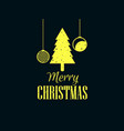 merry christmas christmas tree and hanging balls vector image