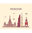 Moscow skyline trendy linear vector image vector image