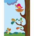 mother bird on tree vector image