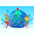 people dancing together near christmas fir tree vector image