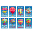 posters for hot air balloon tour or show vector image vector image