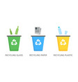 recycle bins for plastic paper glass vector image