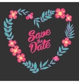 save date floral heart card vintage wedding vector image vector image