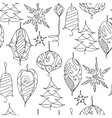 Seamless contour pattern with Christmas decor on vector image vector image