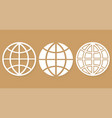 set different icons world globe with shadow vector image vector image