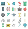 set of school icons outline doodle style white vector image