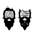 set with bearded heads and lettering quotes we vector image vector image