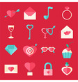 Valentine day flat icons over red vector image