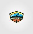 wilderness mountain adventure badge vintage logo vector image vector image