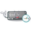 with clock button shift on a keyboard mascot vector image vector image