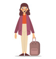 woman with a suitcase on white background vector image
