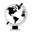 world globe cartoon isolated in black and white vector image vector image