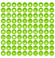 100 work space icons set green circle vector image vector image
