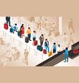 airport queue vector image vector image