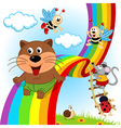 animals and insects ride on rainbow vector image