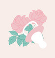 baby girl elements and pink roses vector image vector image