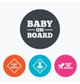 Baby on board icons Infant caution signs vector image vector image