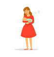 beautiful young mother in red dress rocking her vector image vector image