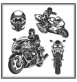 Biker riding a motorcycle set Bikers event or vector image