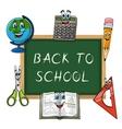 Blackboard with funny school supplies vector image vector image