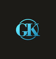 blue gk initial letter logo vector image vector image