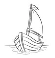 boat cartoon - line drawn vector image
