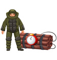 Bomb squad and time bomb vector image vector image