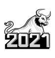 bull symbol new year 2021 vector image