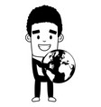 businessman holding world map on white background vector image vector image