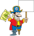 Cartoon pirate hodling a map and a sign vector image vector image