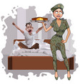 cartoon woman in camouflage uniform brought a cake vector image
