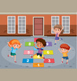 children playin math game vector image vector image