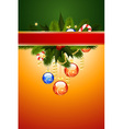 Christmas card with fir mistletoe and decoration f vector | Price: 1 Credit (USD $1)