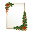 christmas frame with garland vector image vector image