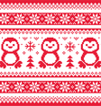 Christmas winter knitted pattern with penguins vector image vector image