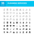 cleaning services line web glyph icons vector image